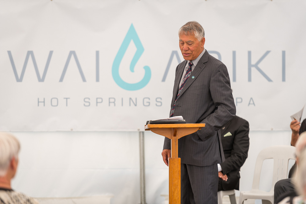 Malcolm Short gives a speech at the Wai Ariki Hot Springs and Spa site
