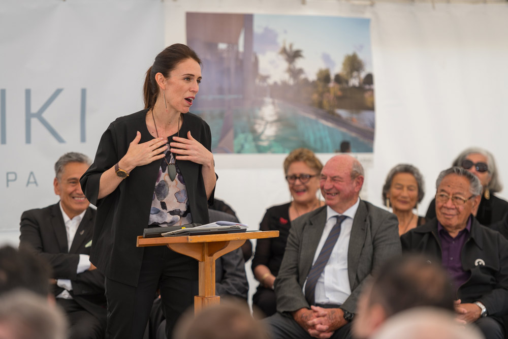 Jacinda Ardern gives a speech at the Wai Ariki Hot Springs and Spa site